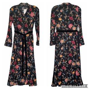 NWT Zara floral button up shirt dress sz S